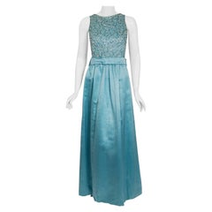 1961 Charles Cooper Couture Aqua-Blue Beaded Satin Backless Gown & Coat Ensemble