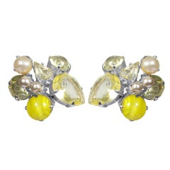 1961 Christian Dior Yellow and Pearl Cluster Earrings
