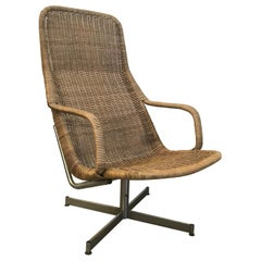 1961 Dirk Van Sliedregt, Rare 514 Original Wicker Lounge Chair with Chrome Base