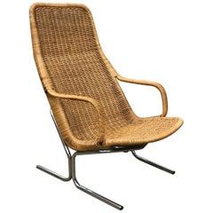 1961 Dirk Van Sliedregt, Rare 514 Original Wicker Lounge Chair with Chrome Base