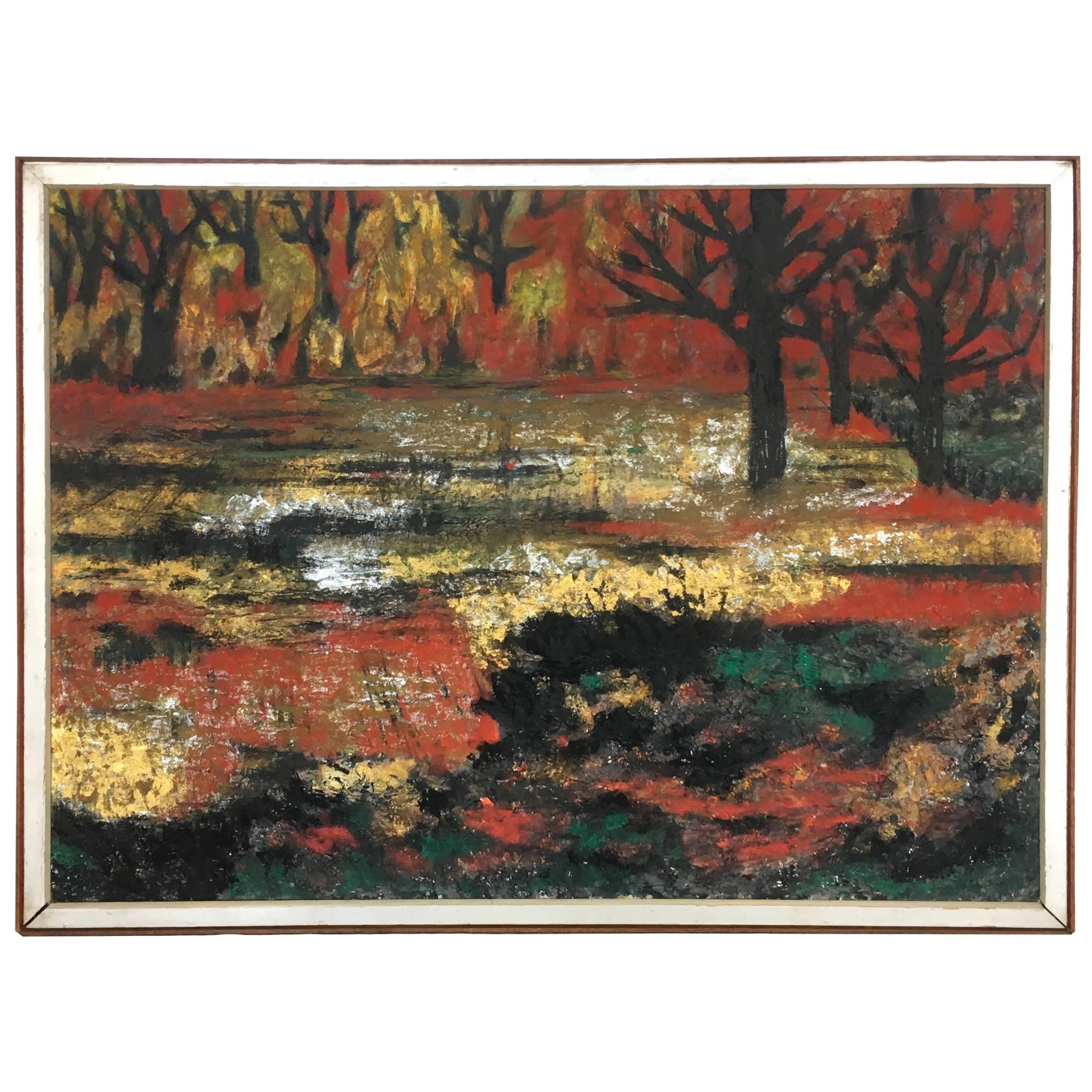 1961 Hong Kong Large Abstract Landscape Oil on Canvas