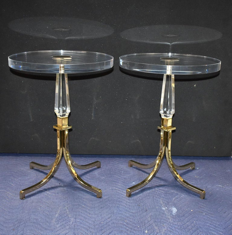 Rare pair of Regency style round side tables designed (signed and dated) by Charles Hollis Jones.