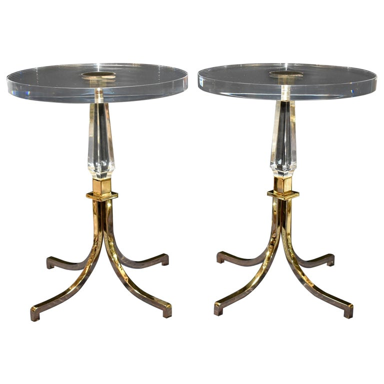 1961 Pair of Regency Style Lucite and Brass Side Tables by Charles Hollis Jones For Sale