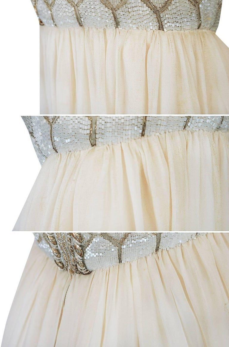 1961 Pierre Balmain Haute Couture Ivory Beaded Dress w Detachable Cape For Sale 6