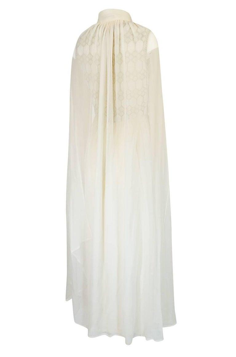Beige 1961 Pierre Balmain Haute Couture Ivory Beaded Dress w Detachable Cape For Sale