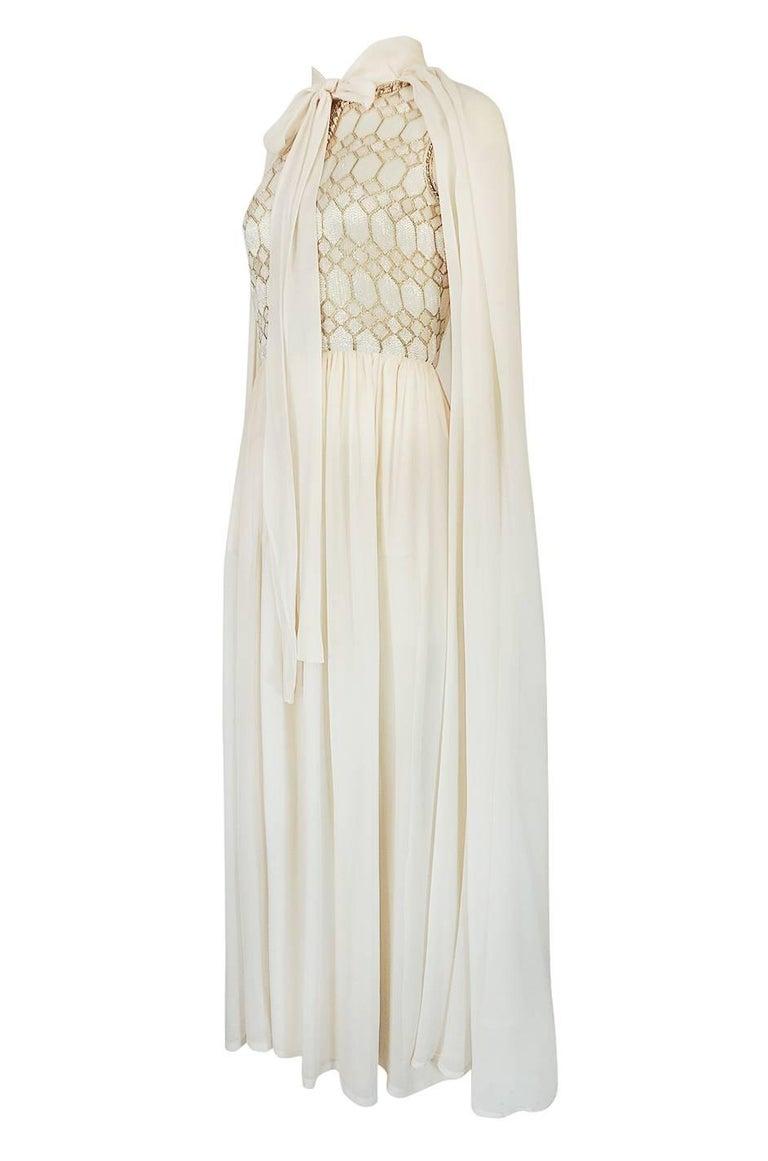 Women's 1961 Pierre Balmain Haute Couture Ivory Beaded Dress w Detachable Cape For Sale