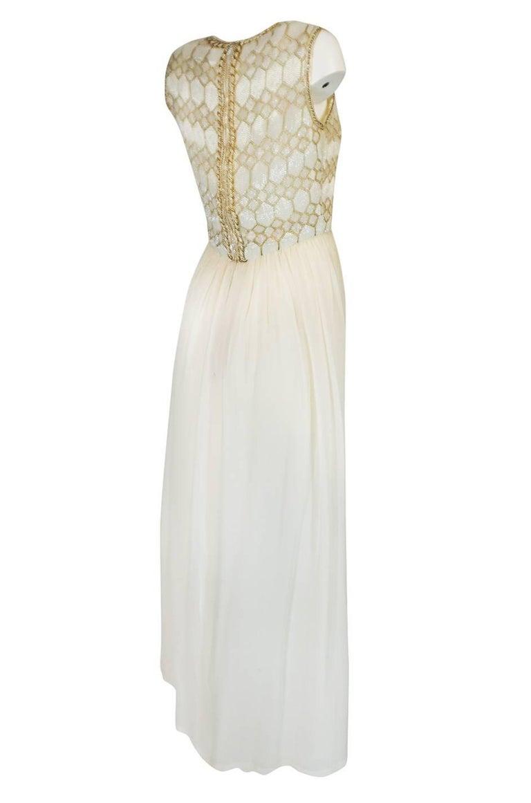 1961 Pierre Balmain Haute Couture Ivory Beaded Dress w Detachable Cape For Sale 1