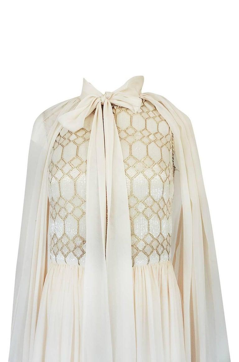 1961 Pierre Balmain Haute Couture Ivory Beaded Dress w Detachable Cape For Sale 2