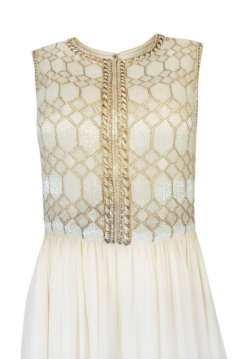 1961 Pierre Balmain Haute Couture Ivory Beaded Dress w Detachable Cape For Sale 3