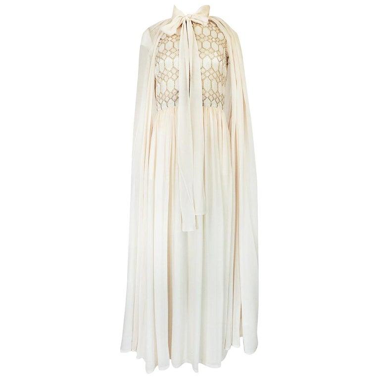 1961 Pierre Balmain Haute Couture Ivory Beaded Dress w Detachable Cape For Sale