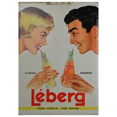 1961 Tin Advertising Sign for Lemonade, Belgium
