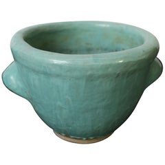 1961 Turquoise Glaze Texas Pottery Planter by Harding Black