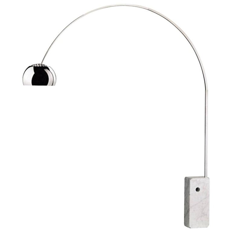 "1962 ""Arco"" Flos Castiglioni Iconic Italian Design Vintage Marble Floor Lamp For Sale"