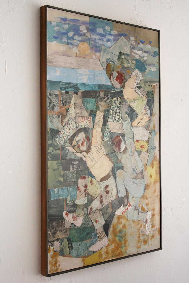 1962 California Listed Artist Olga Higgins Mixed Media Painting and Collage In Excellent Condition For Sale In San Diego, CA