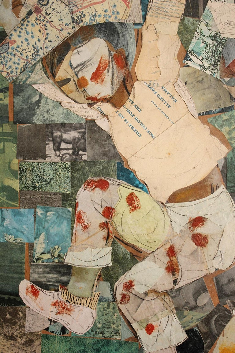 Mid-20th Century 1962 California Listed Artist Olga Higgins Mixed Media Painting and Collage For Sale