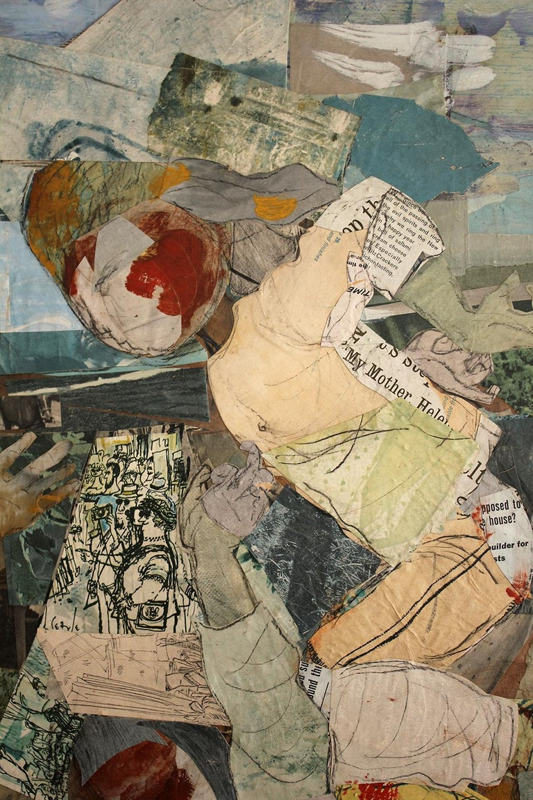1962 California Listed Artist Olga Higgins Mixed Media Painting and Collage For Sale 1