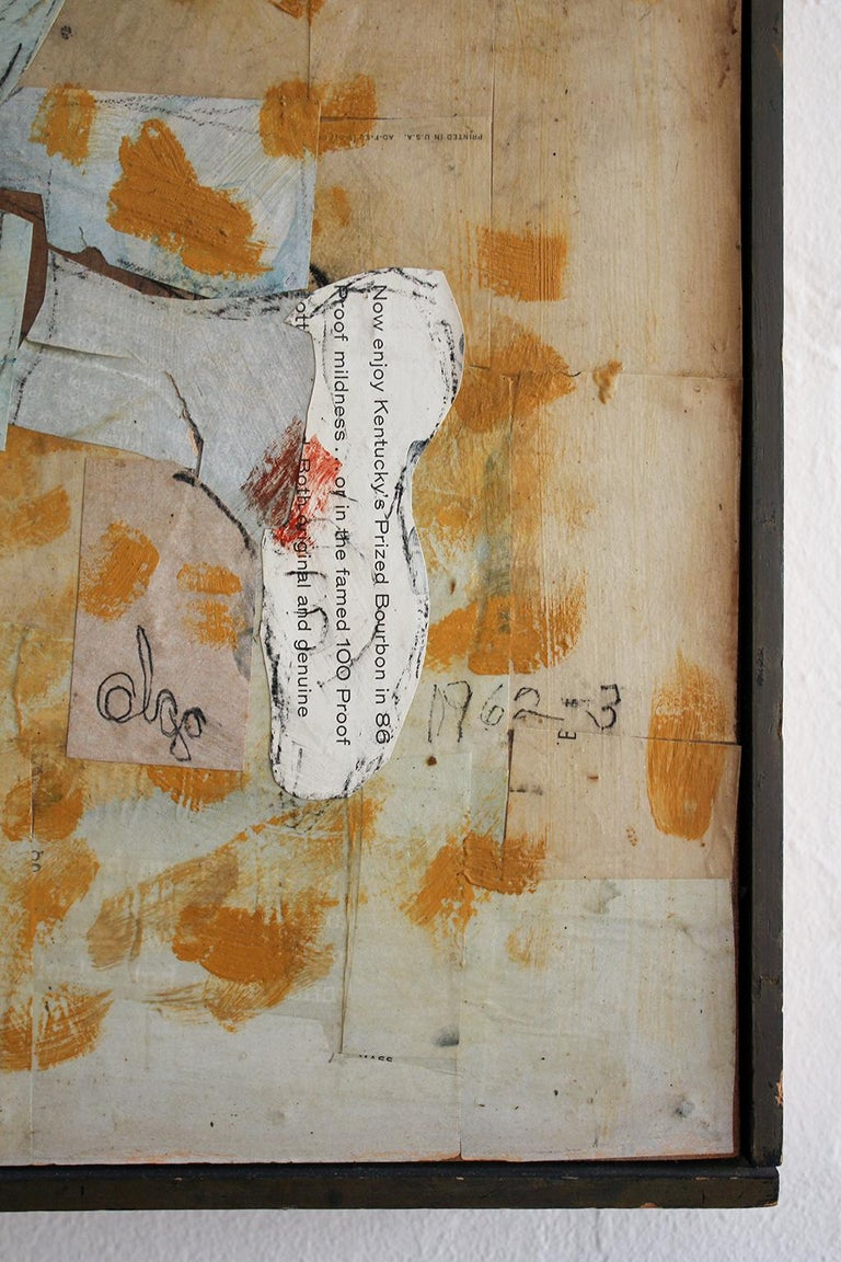 1962 California Listed Artist Olga Higgins Mixed Media Painting and Collage For Sale 4