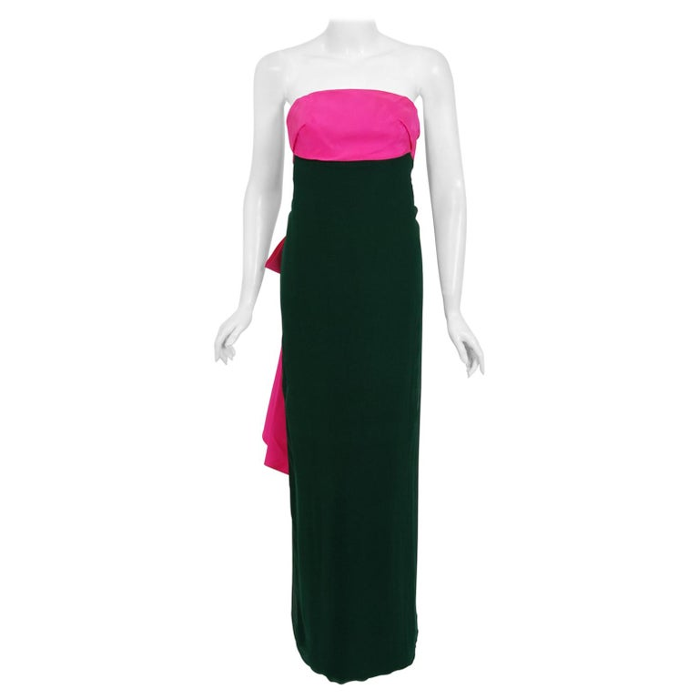 1962 Helena Barbieri Couture Magenta Silk & Forest Green Chiffon Strapless Gown For Sale