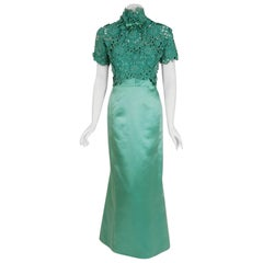 1962 Nina Ricci Haute-Couture Seafoam Blue Green Beaded Lace and Satin Gown
