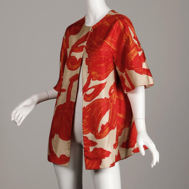 Red 1963 B.H. Wragge Vintage Silk Jacket or Coat For Sale