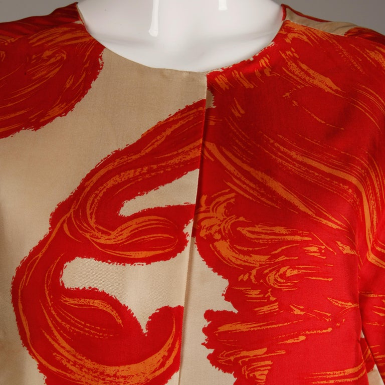 1963 B.H. Wragge Vintage Silk Jacket or Coat In Excellent Condition For Sale In Sparks, NV