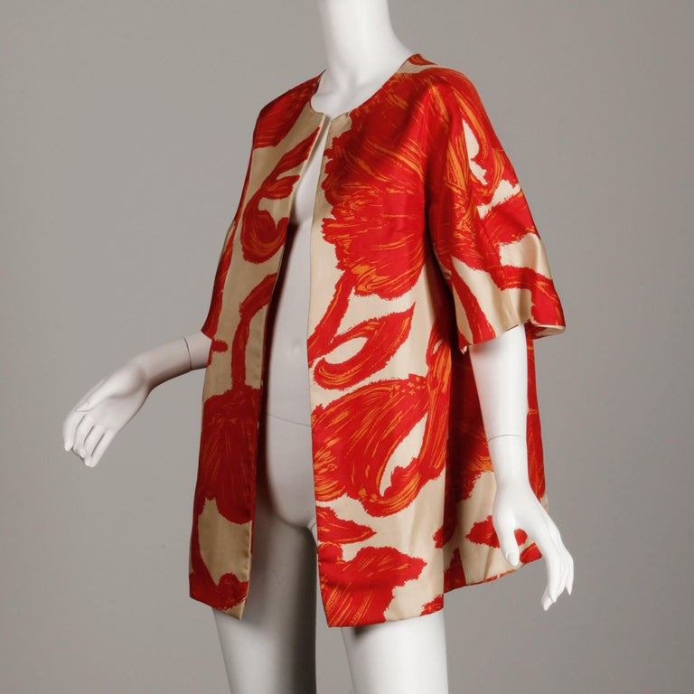 1963 B.H. Wragge Vintage Silk Jacket or Coat For Sale 4