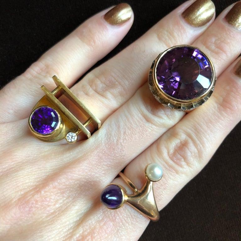 An exquisite amethyst, diamond, and 18k gold ring, by Swedish maker Birger Pellas, 1963.  Size 6.5. Signed Birger Pellas. Stamped Pellas. Swedish control marks. Stamped 18k. Town hallmarks for Malmö. Stamped N9 for 1963.
