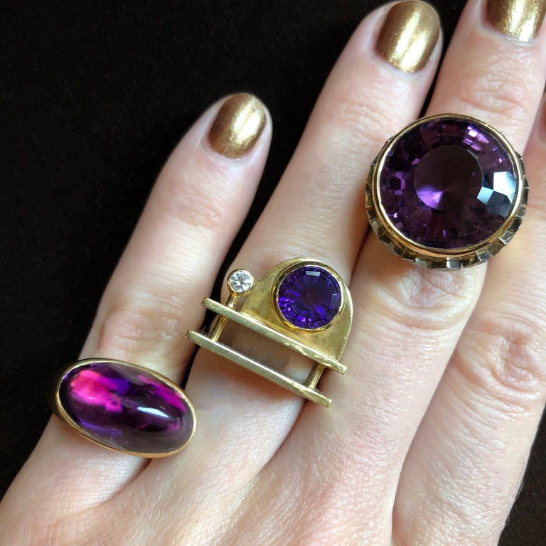 Round Cut 1963 Birger Pellas Amethyst, Diamond and Gold Ring For Sale
