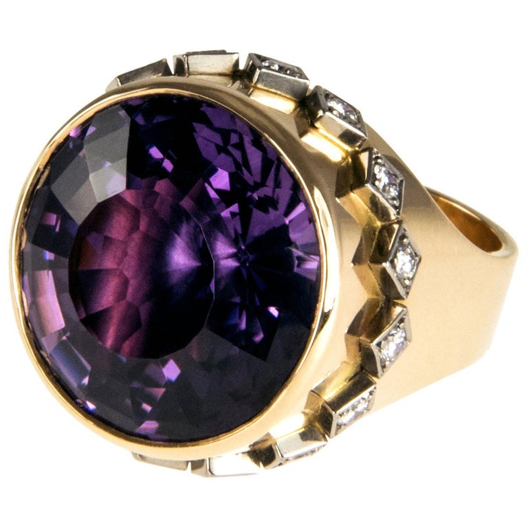 1963 Birger Pellas Amethyst, Diamond and Gold Ring For Sale