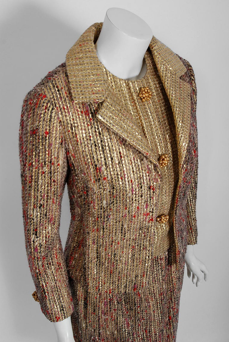 Brown 1963 Christian Dior Metallic-Gold Lamé & Textured Wool Documented Dress Suit For Sale