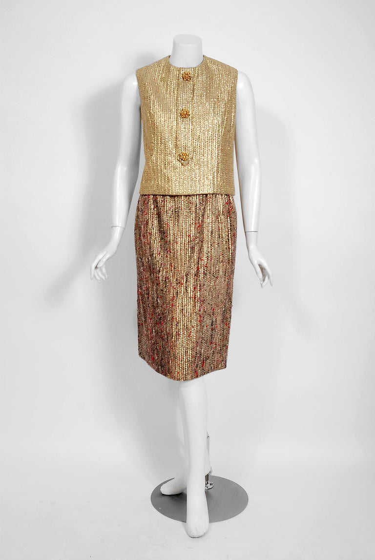 1963 Christian Dior Metallic-Gold Lamé & Textured Wool Documented Dress Suit For Sale 1