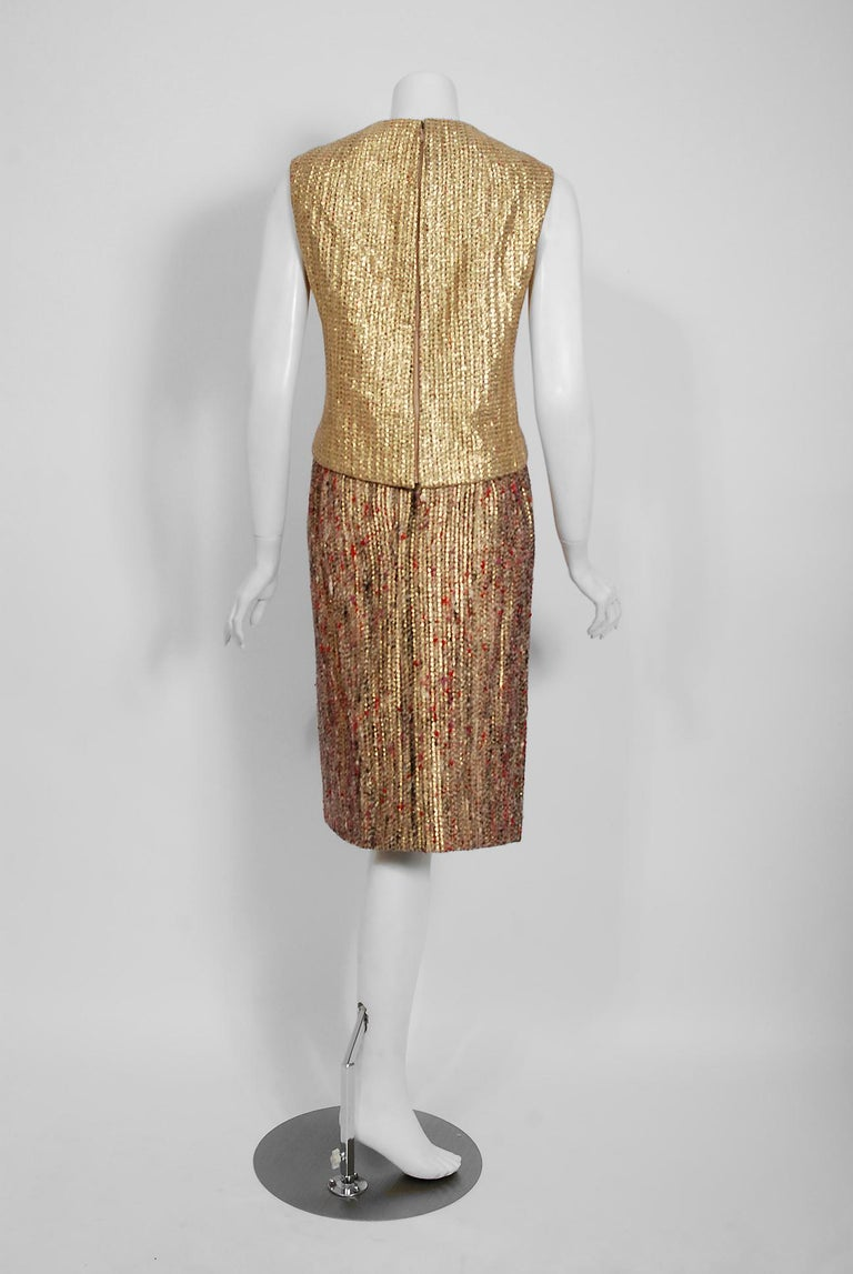 1963 Christian Dior Metallic-Gold Lamé & Textured Wool Documented Dress Suit For Sale 2