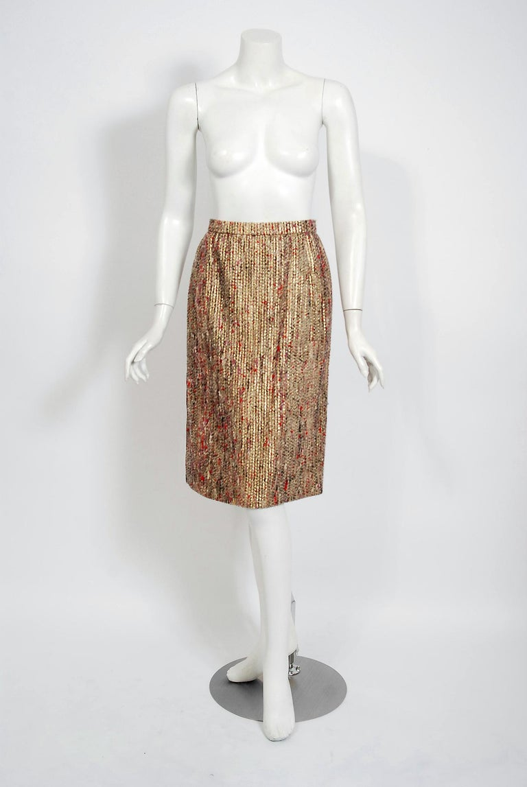 1963 Christian Dior Metallic-Gold Lamé & Textured Wool Documented Dress Suit For Sale 3