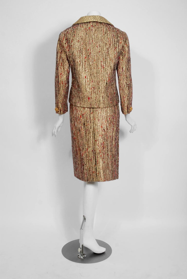 1963 Christian Dior Metallic-Gold Lamé & Textured Wool Documented Dress Suit For Sale 4