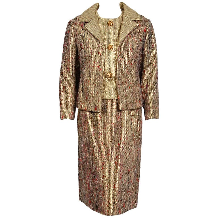 1963 Christian Dior Metallic-Gold Lamé & Textured Wool Documented Dress Suit For Sale
