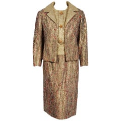 Vintage 1963 Christian Dior Gold Lamé & Textured Wool Documented Dress Suit