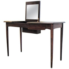 1963 Danish Writing Desk and Mirrored Vanity, Wood, Oestergaard