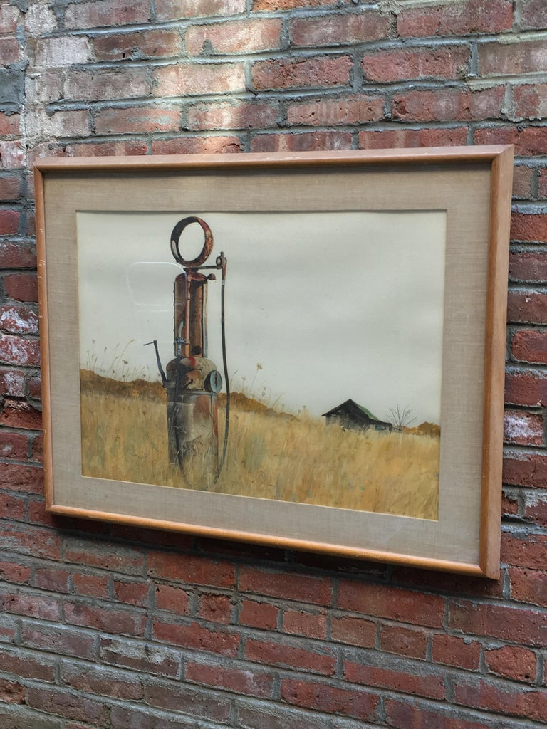 Conlon's work is reminiscent of Andrew Wyeth's regional style of Christina's World and Public Sale. Wonderfully detailed and painted with peaceful clarity. Signed lower right, Eugene Conlon, 63. Watercolor on paper.