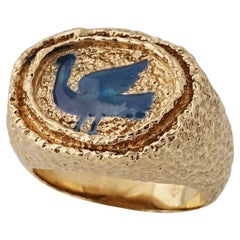 1963 Georges Braque Blue Enamel 18 Karat Gold 'Procris' Ring