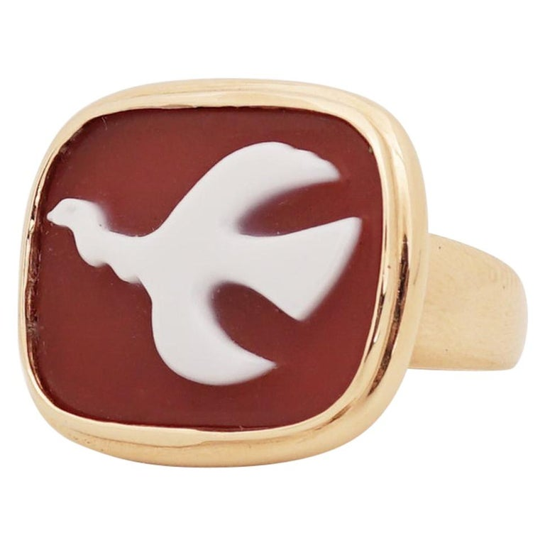 1963 Georges Braque Gold and Cornelian Mounichos Cameo Ring For Sale