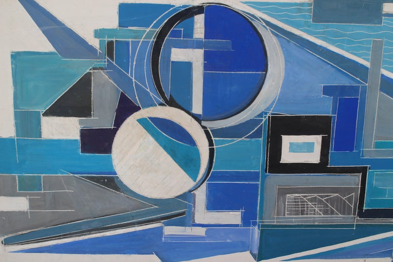 Mid-Century Modern 1963, Large French Painting on Plaster For Sale