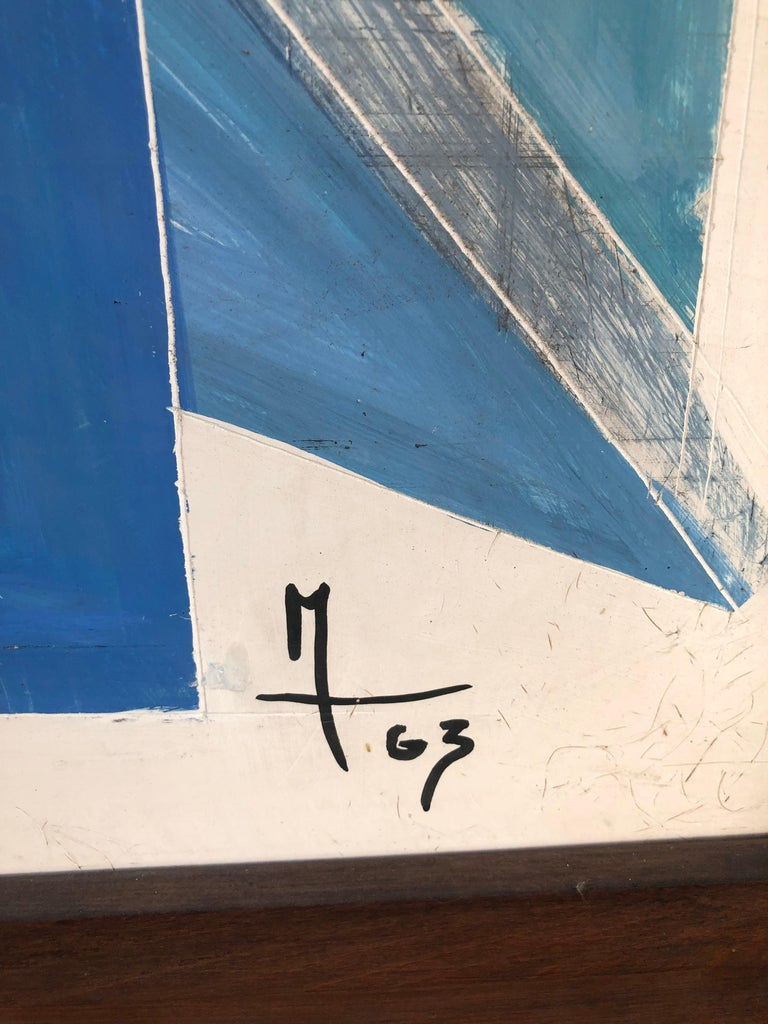 Painted 1963, Large French Painting on Plaster For Sale