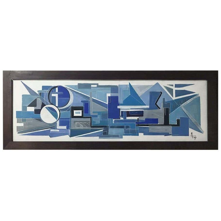1963, Large French Painting on Plaster For Sale