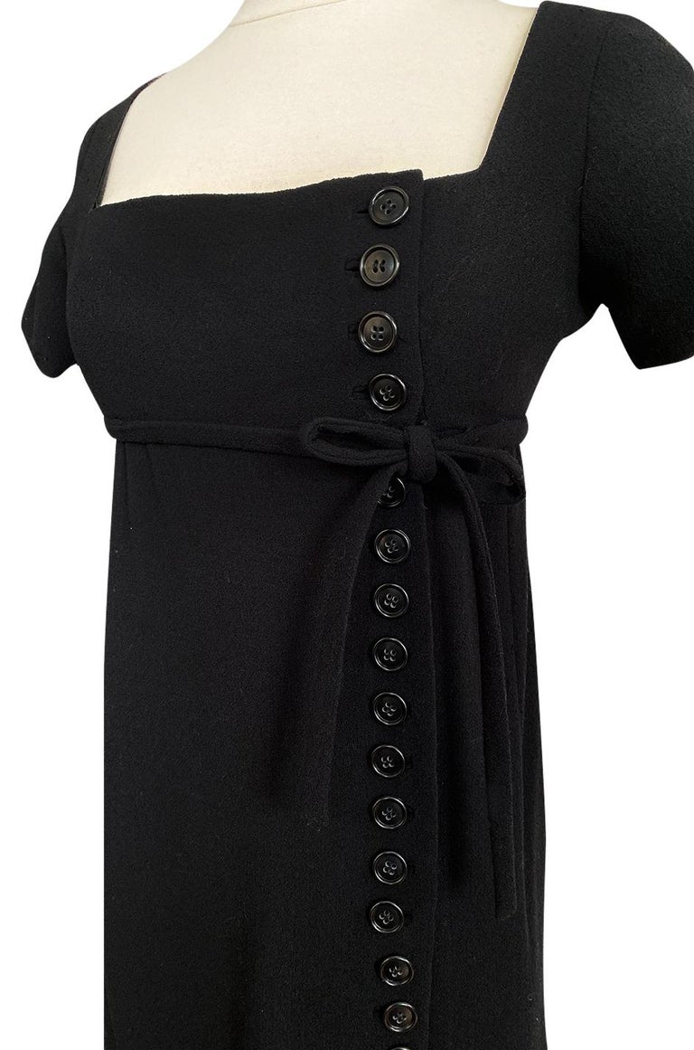 1963 Norman Norell Judy Garland Black Crepe Sheath Button Dress For Sale 6