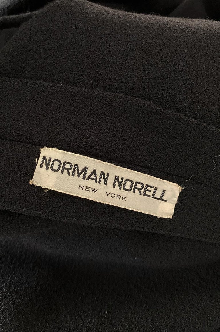1963 Norman Norell Judy Garland Black Crepe Sheath Button Dress For Sale 7