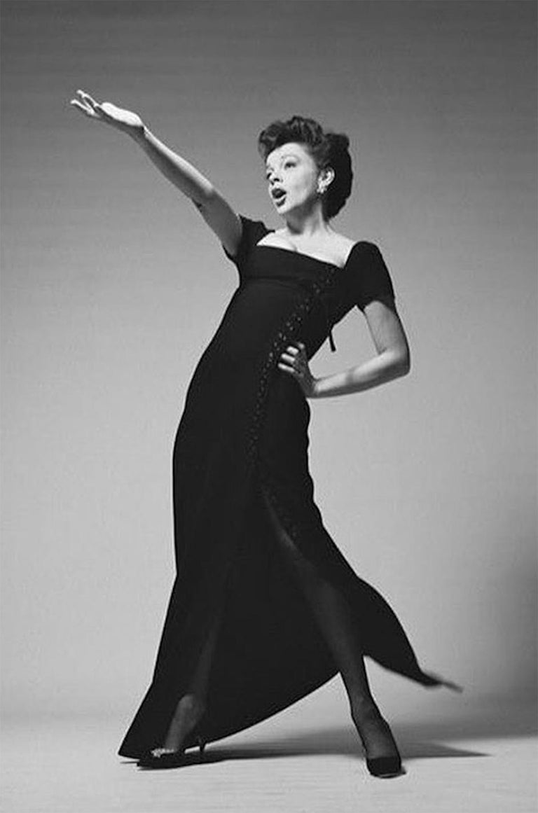 1963 Norman Norell Judy Garland Black Crepe Sheath Button Dress For Sale 8