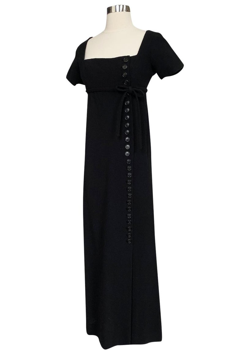 Women's 1963 Norman Norell Judy Garland Black Crepe Sheath Button Dress For Sale