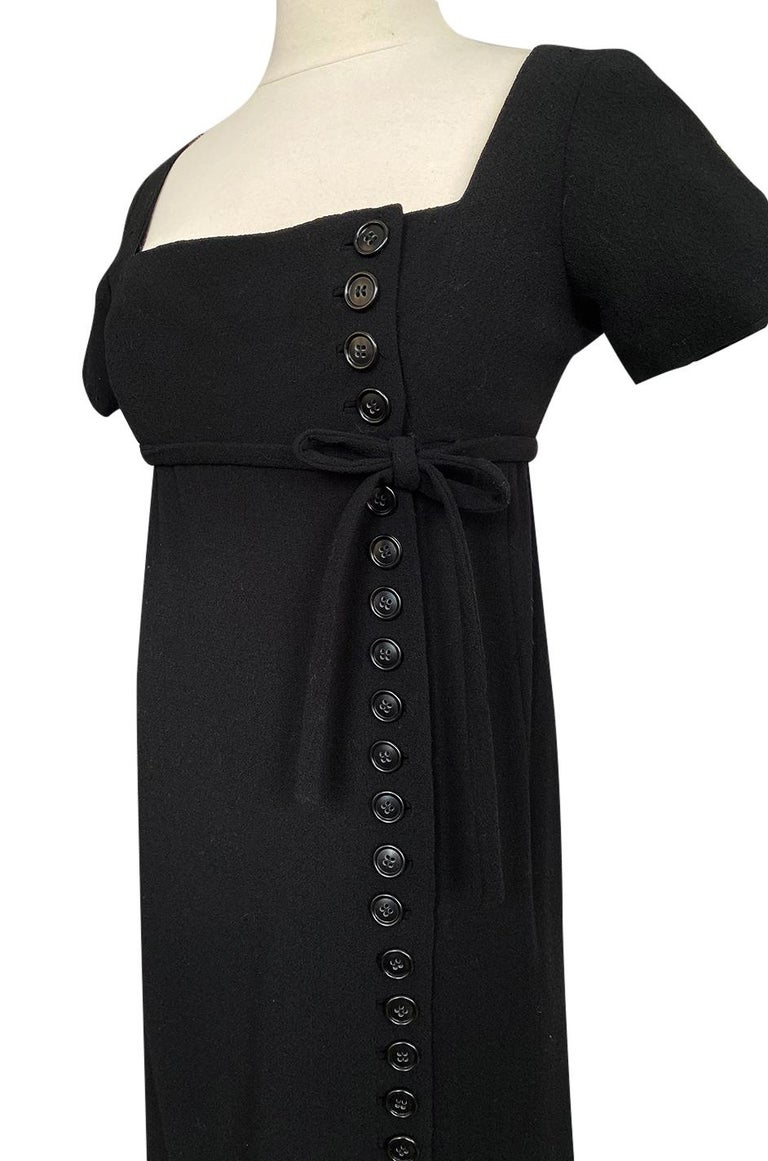 1963 Norman Norell Judy Garland Black Crepe Sheath Button Dress For Sale 5