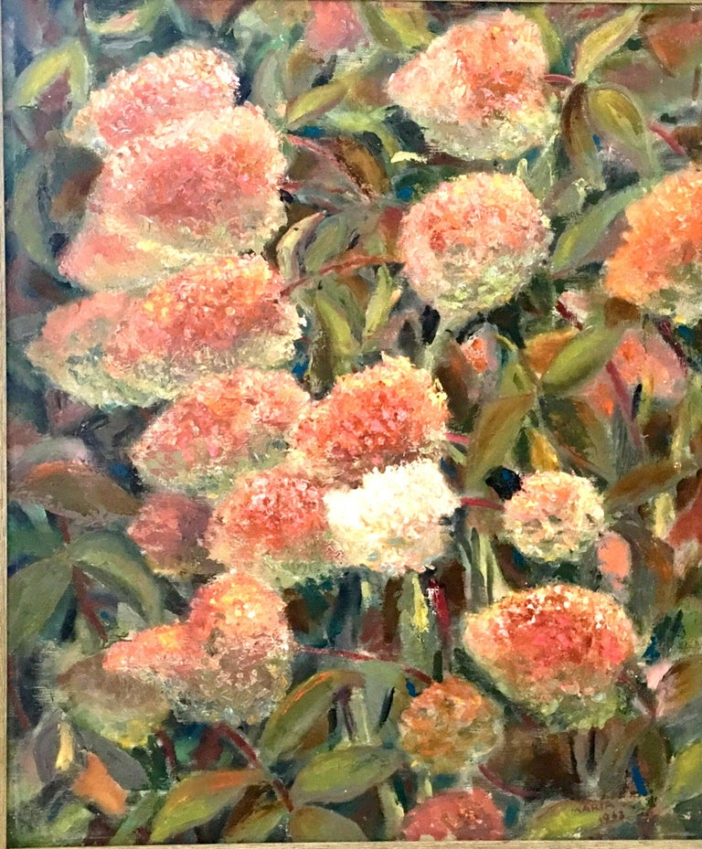 1963 original oil on canvas painting by, Maria Gerstman. This lovely and textured floral motif painting features a color palette of shades of pink and green with vivid contrasting jewel tone colors, which add incredible depth. Signed by the artist