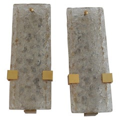 1963 Pair of Dallux Sconces Attributed to Serge Mouille Brass, Glass St Gobain